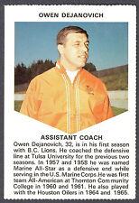 1971 CHEVRON TOUCHDOWN CARDS CFL FOOTBALL B C LIONS OWEN DEJANOVICH TULSA UNIV