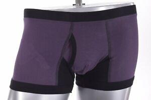 VK Nagrani NWT Luxury Men's Boxer Briefs UV01 in Purple w/Black Trim Cotton S