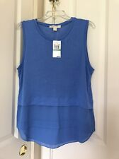 Womens Michael Kors Crew Blue Sleeveless Layered - Look Top Sz L
