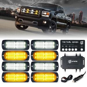 Xprite 8pcs White Amber LED Marker Strobe Lights Kit for Trucks Trailer Warning