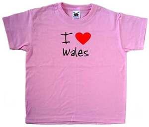 I Love Heart Wales Pink Kids T-Shirt