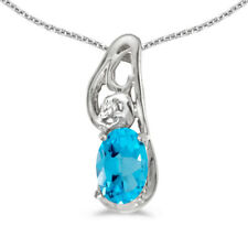 """14k White Gold Oval Blue Topaz And Diamond Pendant with 18"""" Chain"""