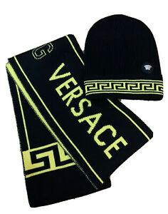 BN YOUNG VERSACE VERSACE KIDS BLACK & YELLOW WOOL BEANIE HAT & SCARF SET SIZE M