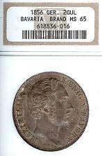 Germany Deutschland Bavaria 1856 2 Gulden Taler Coin Thaler NGC MS 65  F Stg
