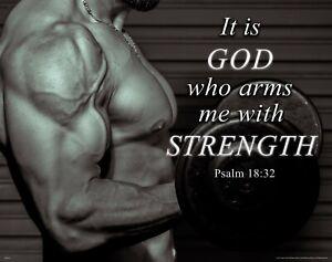 Workout Motivational Poster Art Print Weight Lifting Gym Wall Decor Psalm 18:32