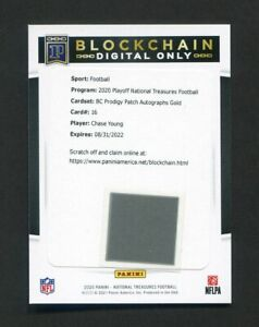 2020 National Treasures Chase Young Digital BC Prodigy Patch Auto Gold Redskins