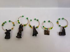 Wine Glass Charm Ring Markers Set of 5