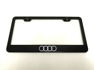 ForAudiLOGO Laser Style BLACK Stainless Steel License Plate Frame w/bolt caps