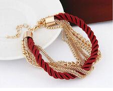 Korean Fashion Popular Women Elegant Gold Chain Braided Rope Multilayer Bracelet