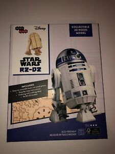 Star Wars R2-D2 Droid Figure 3D Laser-Cut Wood Model Kit and Deluxe Book SEALED