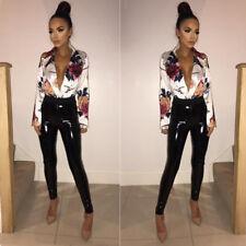 UK Women's Floral Satin Plunge Bodysuit Sexy Ladies Playsuit Tops Shirt Blouse