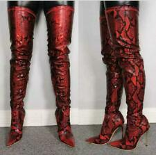4.5-12.5 Women Stiletto Side Zip Pointy Toe Over Knee Thigh High Clubwear Boots