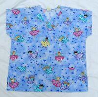Cartoon Fairy Short Sleeve Uniform Medical Nurse Scrubs Top Shirt Women Size L