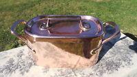 Copper Pot Daubiere Stock Roasting Pan Lid Antique Solid Cast Copper Handles