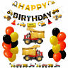 Construction Digger Happy Birthday Decorations Bunting Banner Balloon Party Gift