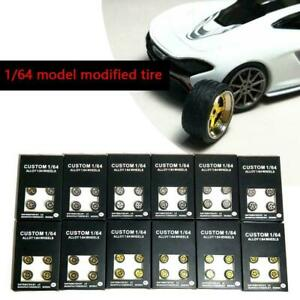 1:64 Scale Model Car Wheels Parts Alloy Wheel Rubber Tire Sets