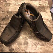 Skechers Diameter Slip On Sneakers Relaxed Step Black Leather Shoe Mens Sz 10.5