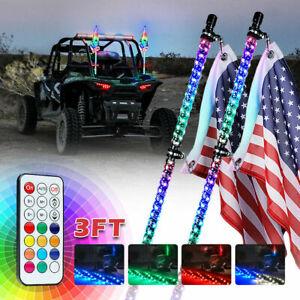Pair 3ft RGB LED Spiral Whip Lights Antenna Pole Flag Chase for Can-Am UTV ATV