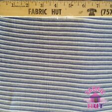 Jersey Knit Polyester Poly Spandex Blue & Grey Stripe Fabric by the Yard