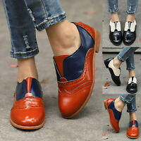 Women's Color Block Retro Slip On Brogue Oxfords Loafers Flats Work Casual Shoes