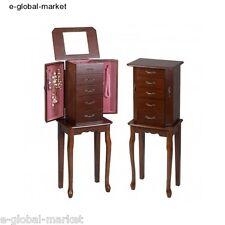 Wooden Jewellery Chest Armoire Drawer Chic Mirror Display Cabinet Box Organizer