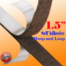 """1.5"""" x 5 Yards 15 FT Black Self Adhesive Fabric Hook and Loop 40mm Stick On Tape"""