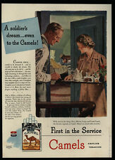 1944 Mom Gives WWII Soldier Son CAMEL Cigarettes & Breakfast In Bed VINTAGE AD
