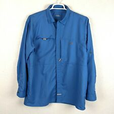 UNDER AMOUR Mens XL Blue Vented Mesh Lined Long Sleeve Fishing Button Up Shirt