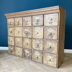 Antique Bank Of Drawers Apothecary Cabinet Haberdashery Chest Of Draws Rustic