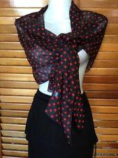 Beautiful rockabilly revival Lolita  red black polka dot sheer long scarf wrap