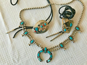 2 SW BOLO Ties & 1 Squash blossom necklace- SW Costume Reproduction jewelry
