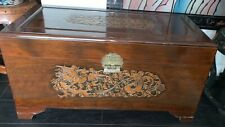 Antique Asian Carved Wood Chest Trunk Coffee Table Cedar-lined