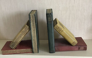 """A PAIR OF WOODEN ANTIQUE STYLE BOOK """"BOOK ENDS"""""""