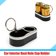 Car SUV Double Hole Cup Bottle Drink Holder with Moveable Top Ring Black Plastic