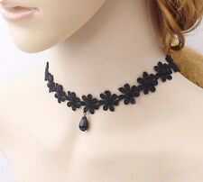 1 Pcs Hot Women's Gothic Choker Set Black Velvet Leather Necklace Simple Chocker