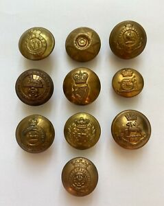 Assorted Vintage Brass Regimental Buttons x 10  VM570