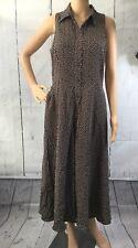 K Studio Womens Sz 8 Sleeveless Polka Dot Dress Brown/White Button Side Pockets