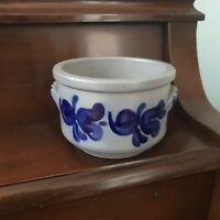 Ceramic Butter Country Crock Open Bowl Studio Wheel Thrown Pottery Blue Gray
