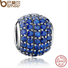 Shining S925 Sterling Silver Charm Blue Crystal Beads Fitting European Bracelets