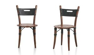 """35"""" H Dining chair black soft Italian leather polished solid exotic woods cool"""