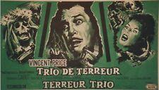 """""""TRIO DE TERREUR (TWICE TOLD TALES)"""" Affichette belge entoilée (Vincent PRICE)"""