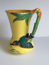 ART DECO English Burleigh Ware KINGFISHER Handle Art Pottery Jug Pitcher c1931