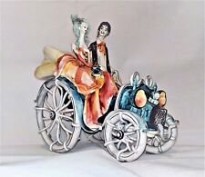 Unique Vintage Ceramic Italy Fine Spaghetti Hair Couple in Antique Car on a Date