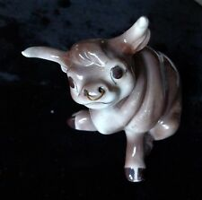 """China Bull Porcelain Figure with nose ring 4"""" tall Grey & white"""