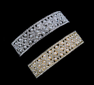 CRYSTAL FAUX PEARL CURVED RECTANGULAR SQUARE SHAPE LARGE BARRETTE CLIP CLEAR