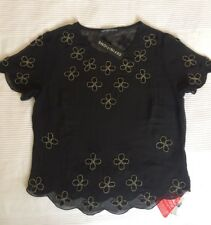 Ladies Bead Embellised Chiffon Short Sleeve Top - DEFINITIONS - Black (Size 10)
