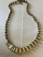 Vintage Costume Jewellery Art Deco Clear Glass Crystal Silver Tone Necklace
