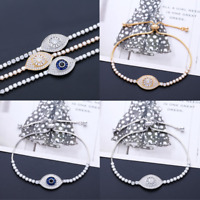 Women's Fashion Jewelry Designer Gold Silver Evil Eye Bracelet Turkish CZ Pave