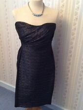 Ladies Reiss Marilyn Bustier Top Metallic Dress - Midnight - Size UK 12 - BNWT