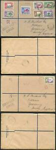 Dominica SG99/106 1938 KGVI Part Set on 2x FDC to England